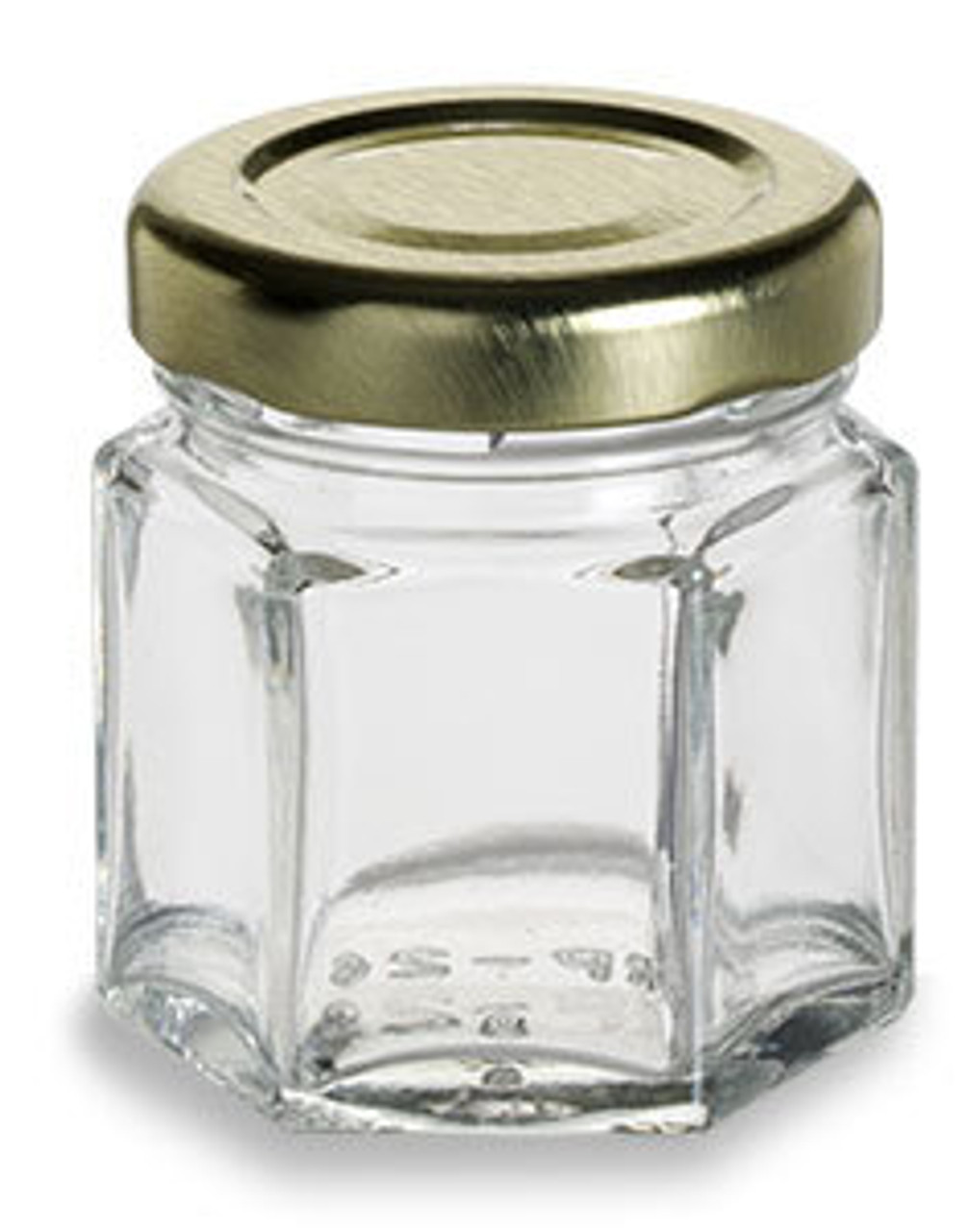 1.5 oz hexagon glass favor jar with gold lid.