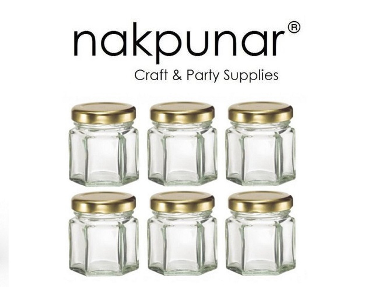 Nakpunar hexagon wedding favor glass jar with gold plastisol lined lid.