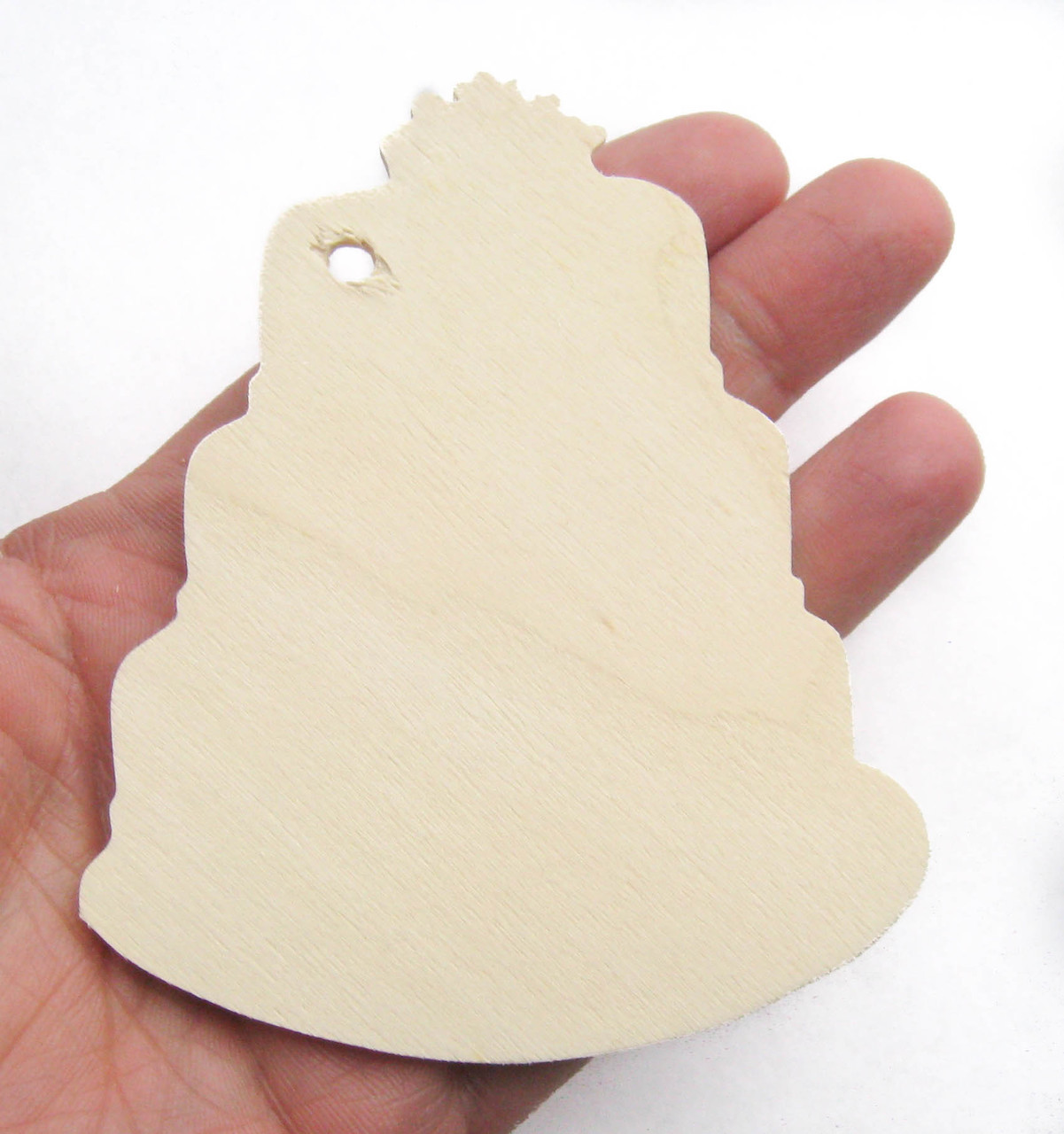 Unfinished birch wood tag ornament wedding birthday cake shape cutout diy craft kit