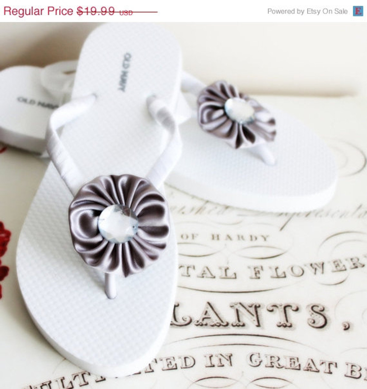 Gray Beach Wedding Flip Flops Bridal Flip Flops Bridesmaid Bridal Shower Flower