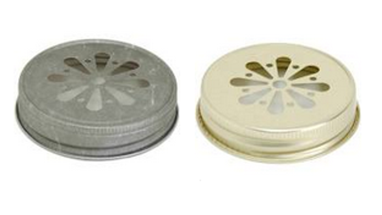 Gold and Pewter Silver Color Mason Jar Lids with Daisy shape die cut - Straw Hole or Candle Lid