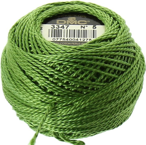 DMC #5 Perle Cotton Thread | 3347 Md Yellow Green