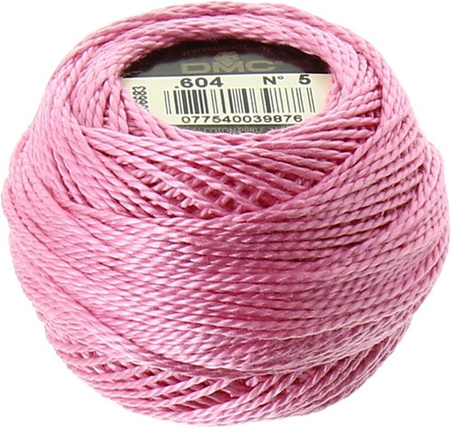 DMC #5 Perle, Pearl, Pearl Cotton Thread Ball | 604 Light Cranberry Pink (116 5-604)