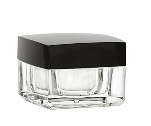 1/2 oz Acrylic Square Plastic Jar with Airtight Black Shiny Lid and Liner