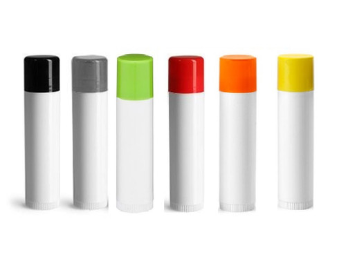 0.15 oz White Lip Balm Tube with choice Color Caps