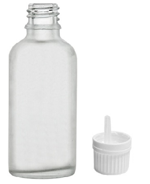 30 ml Clear Frosted Glass Euro Dropper Bottles - White Tamper Evident Caps with Orifice Reducers