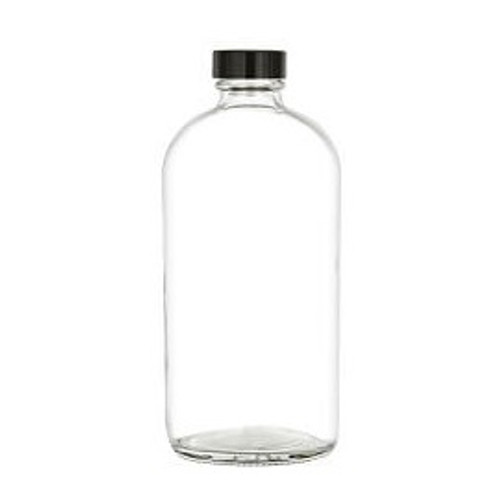 16 oz Clear Glass Boston Round Bottle with Black Phenolic Poly-Seal Lined Cap