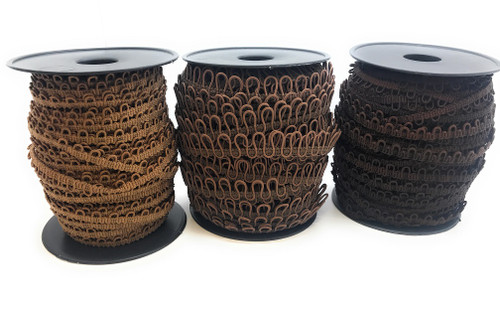 "12"" Brown Adjacent Elastic Bridal Button Loops"