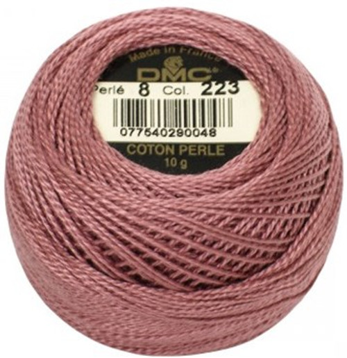 DMC 223 Light Shell Pink Pearl Cotton Thread Ball - Size 8