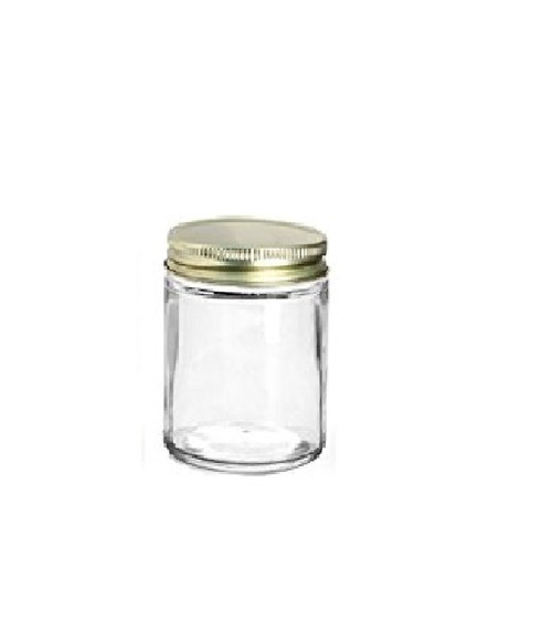 6 oz Straight Sided Glass Jars with Gold Metal Lid