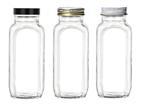 16 oz Glass French Square Bottle with Choice of Color Lid