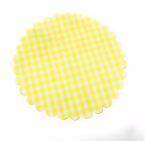 Yellow and White Gingham Jar Cover with Hemp Twine or Ribbon Color