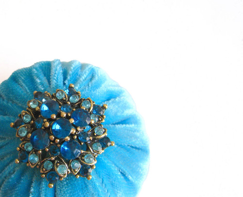 "2"" Aqua Blue Emery Pincushion"