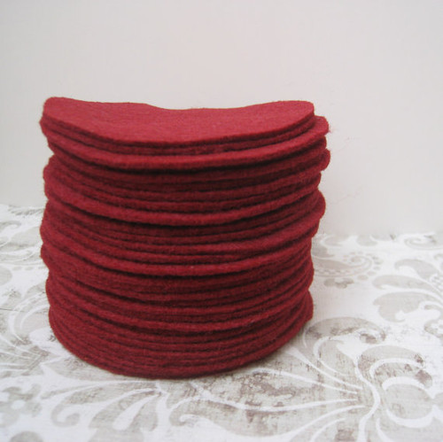 Burgundy Felt Circles (To see price please choose the diameter)