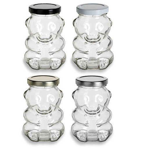 9 oz Bear Glass Jar with Plastisol Lined Lids