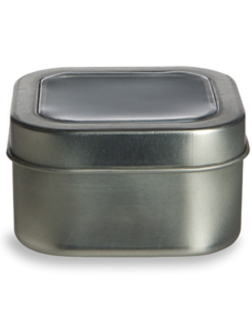 4 oz Square Tin with Clear Top Lid