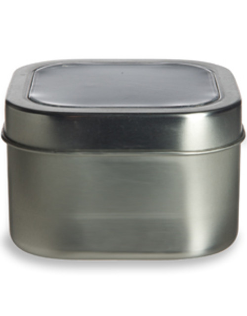 8 oz Square Tin with Clear Top Lid