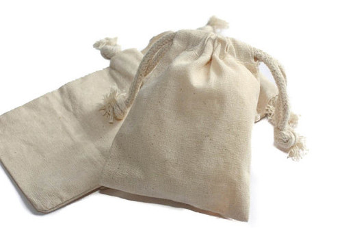 "100 pcs, 3""x4"" Natural Muslin Bags with Drawstrings"