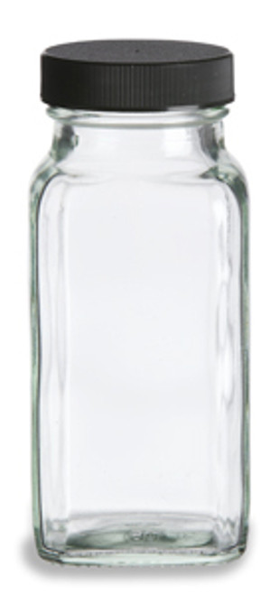 6 oz Glass French Square Spice Jar with Shaker and Black Lid