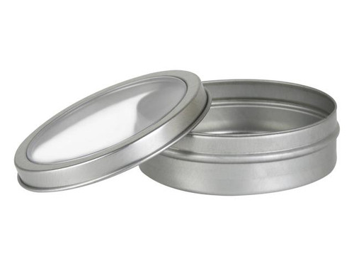 2 oz Clear Top Tin- Round