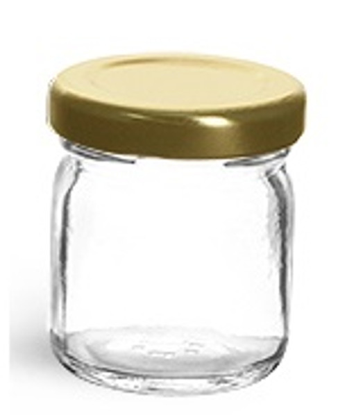 1.5 oz Mini Glass Jar with Gold Plastisol Lid (45ml)
