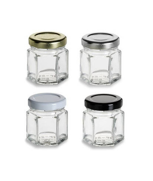 Nakpunar 1.5 oz 45 Mini hexagon glass jars with Lids