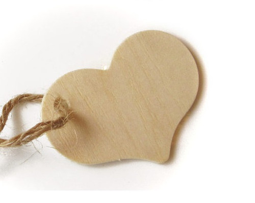 Heart Wooden Tags - For Rustic Wedding, Shower Favors
