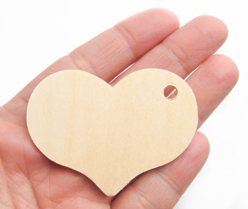 Unfinished Wooden Heart Gift Tag