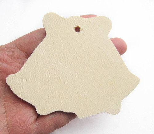 Unfinished Wooden Wedding Bells Gift Tag