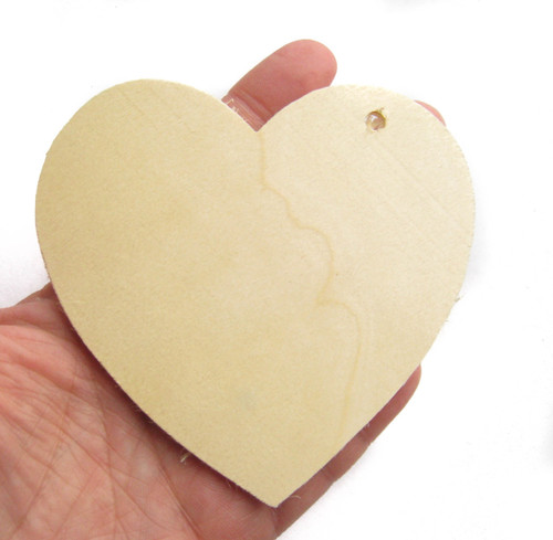 Unfinished Wooden Heart Gift Tag - Large