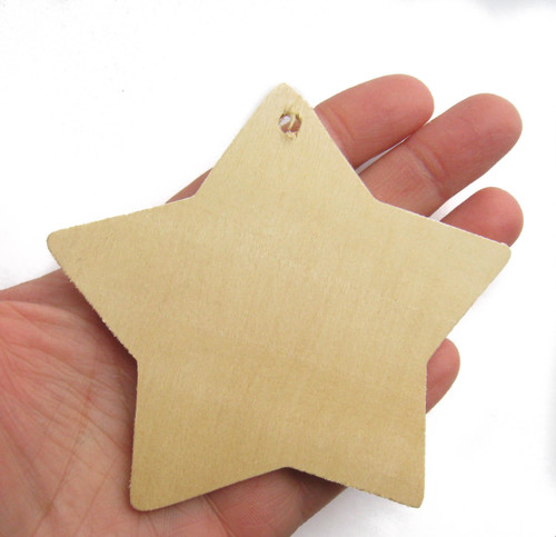 Unfinished Wooden Star Gift Tag