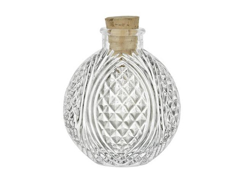 4 oz Spherical Round Glass Bottle with Natural Cork Stopper- Crystal Cut