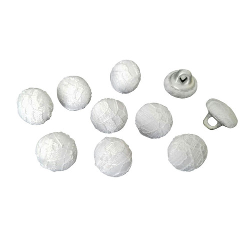 "White Lace Bridal Buttons - 7/16"" (11.5 mm - 18 L) - Set of 10"