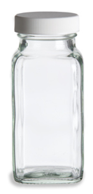 6 oz Glass French Square Spice Jar with Shaker and White Lid