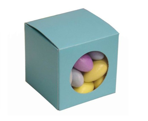 "Nakpunar Robin Egg Blue Favor Boxes with Clear Window - Set of 10 - 2""x2""x2"""
