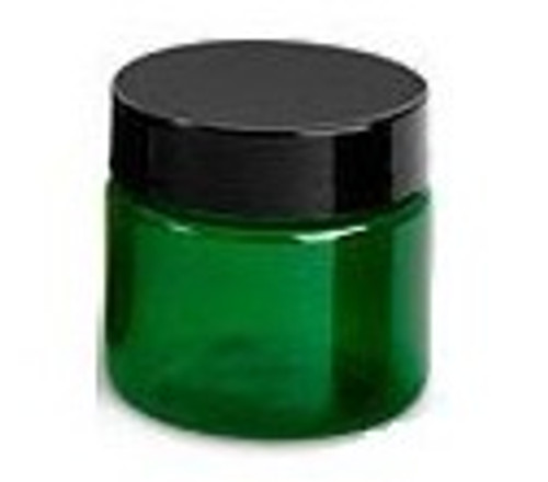 1 oz Green plastic jar with black lid