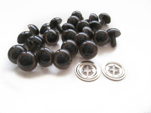 15 mm Brown Doll Eyes - 5 pairs