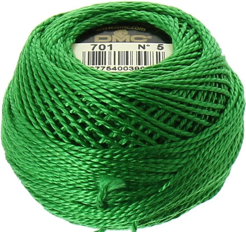 DMC #5 Perle Cotton Thread | 701 Lt Green