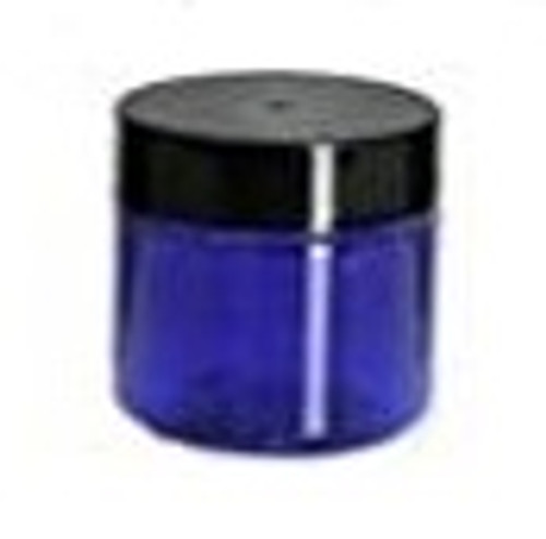 1 oz Cobalt Blue Single Wall Plastic Jar with Black Smooth Lid