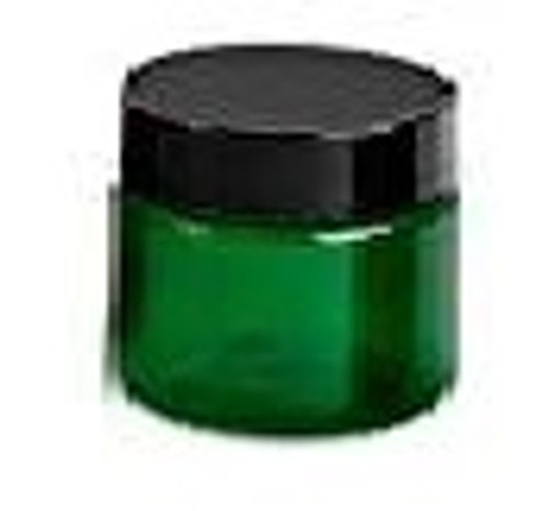 1 oz Green Single Wall Plastic Jar with Black Smooth Lid
