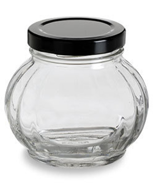 8 oz Round Faceted Glass Jar with Black Lid