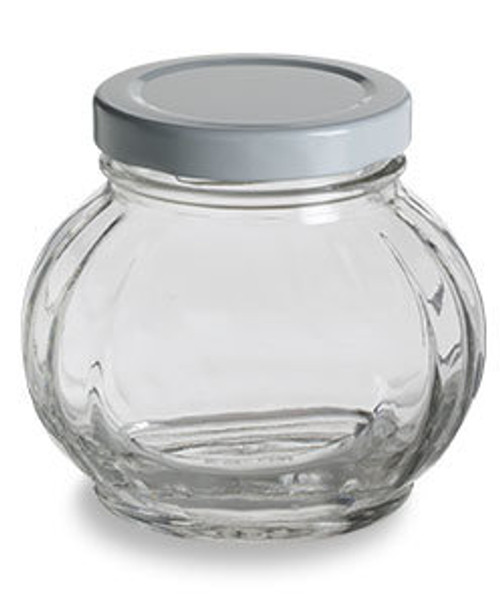 Nakpunar 8 oz Faceted Round Glass Storage Jar with white plastisol lined lid