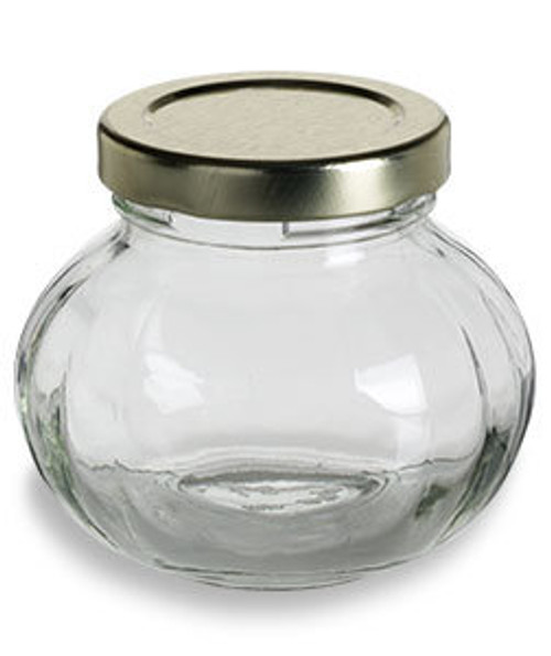 4 oz Round Faceted Glass Jar with Gold Lid