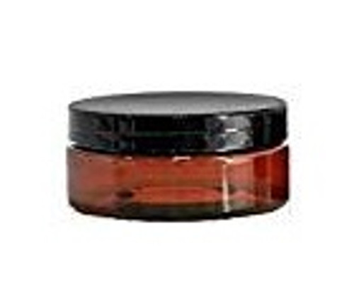 4  oz Low Profile Amber Brown Single Wall Plastic Jar with Black Smooth Lid