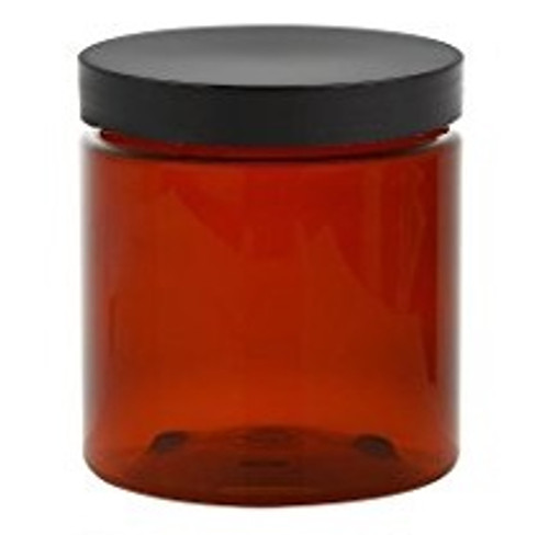 4 oz Amber Brown Single Wall Plastic Jar with Black Smooth Lid