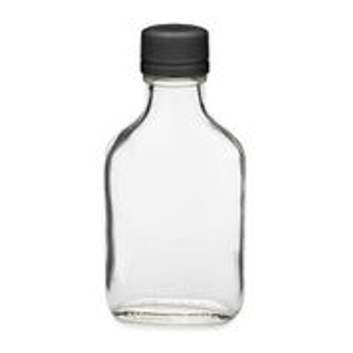 100 ml Flask Glass Bottle with Black Tamper Evident Cap