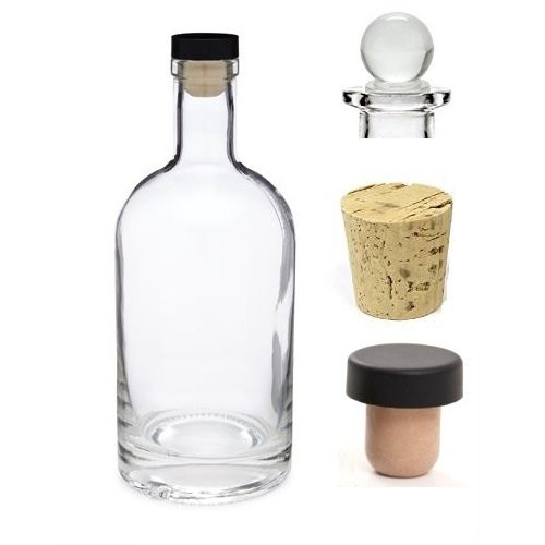12 oz Heavy Bottom Boston Liquor Bottle with Cork, T-bar and Glass Stopper