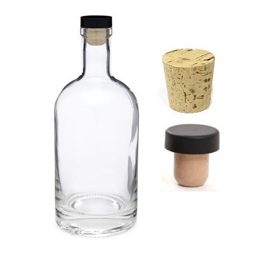25 oz Heavy Bottom Boston Liquor Bottle with Cork, T-bar and Glass Stopper