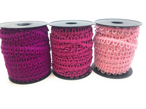"12"" Red Violet, Fuchsia, Baby Pink Adjacent Elastic Bridal Button Loops"