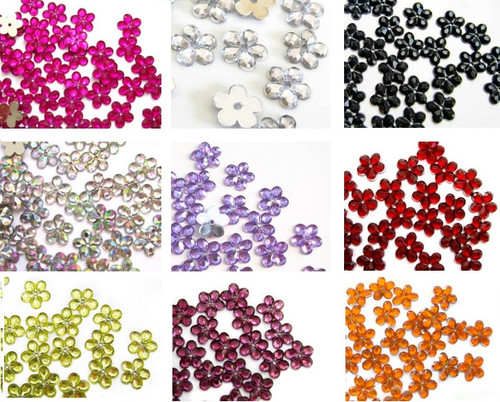 50 pcs Sew-on Floral Flatback Resin Rhinestones - 5 Petal Floral (Choose your Color)
